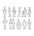 set sketch a lot of different people many vector image vector image