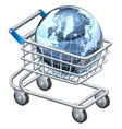 shopping trolley globe vector image vector image