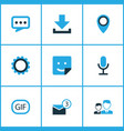 social icons colored set with pinpoint inbox vector image