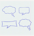 speech bubbles doodle style blue hand drawn vector image vector image