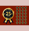 stylish golden anniversary labels or logotype vector image vector image