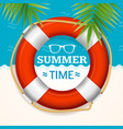 summer time banner with a life buoy vector image vector image