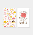 sweet and tasty bar and shop card template with vector image vector image