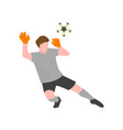 the goalkeeper in a gray uniform and gloves tries vector image