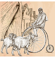 Velocipede - bicyclist An hand drawn picture Line vector image vector image