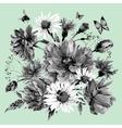 vintage monochrome watercolor bouquet vector image