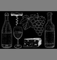 wine set botlle wine glass grapes cheese vector image