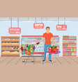 young man shopping for groceries vector image vector image
