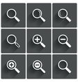 Zoom icons Search symbols Magnifier Glass signs vector image vector image