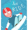 Snowboard Funny Free Rider in Helmet Jump Fun vector image