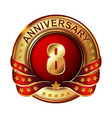 8 anniversary golden label with ribbon vector image vector image