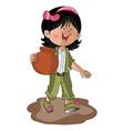 a girl carrying earthen pot vector image vector image