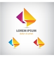 abstract origami icon logo for comapany vector image vector image