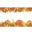 autumn leaves and pumpkins horizontal banner vector image