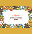 background casino chips top view vector image vector image