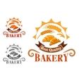 Bakery shop emblem with french croissants vector image