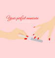 beautiful woman hands vector image vector image