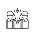 builders line icon concept builders linear vector image vector image