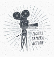 camera vintage label hand drawn sketch grunge vector image