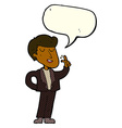 cartoon cool guy snapping fingers with speech vector image
