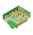 city library interior with furniture isometric vector image vector image