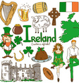 Collection of Irish icons vector image vector image