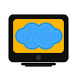computer screen with cloud technology vector image vector image