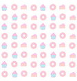 cupcake and donut seamless pattern pastel color vector image