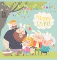 cute family celebrating easter father mother vector image