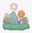 cute girl wearing swimsuit with sun and trees vector image
