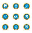 dental pain icons set flat style vector image