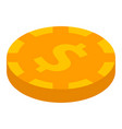 dollar gold coin icon isometric style vector image