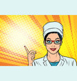 female doctor points to the side gesture vector image vector image