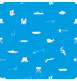 fishing icons blue and white seamless pattern vector image vector image
