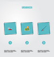 flat icons penknife fishing location and other vector image vector image