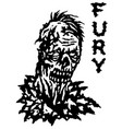 fury zombie black and white colors vector image