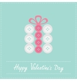 Gift box made from white pink buttons Appligue vector image vector image