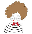girl with curly brown hair and round glasses on vector image vector image
