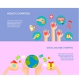Giving hands 2 horizontal flat banners vector image vector image