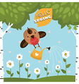 Greeting card with a cute bird watering the flower vector image