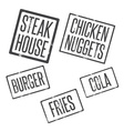 grunge stamps of fast food theme vector image