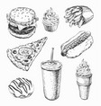 hand drawn set fast food vector image