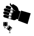 hand human with dices game vector image