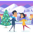 happy couple with holding hands on urban icerink vector image vector image