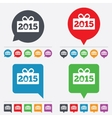 Happy new year 2015 sign icon Christmas gift vector image vector image