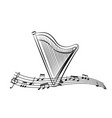 harp in the sheet music vector image vector image