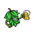 hops drinking beer mascot vector image vector image