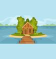 house on lake vector image