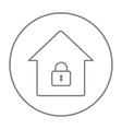 House with closed lock line icon vector image