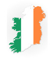 ireland flag overlay on ireland map vector image